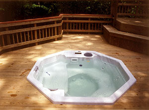 portable hot tub in deck