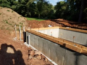 poured concrete walls for a plunge pool