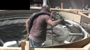 gunite applied to hot tub